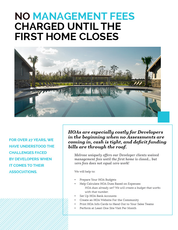 No Management Fees Until First Closing Flyer